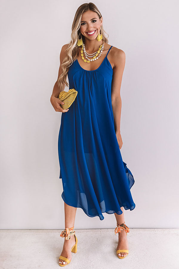 Sunset Mimosas Midi In Royal Blue