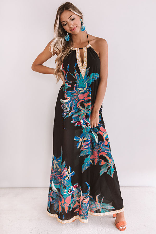 Mimosas and Magnolias Halter Maxi in Black