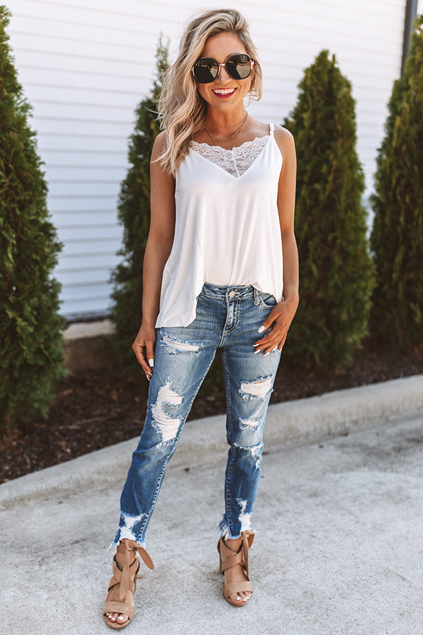 Loving Life Lace Shift Tank in Ivory