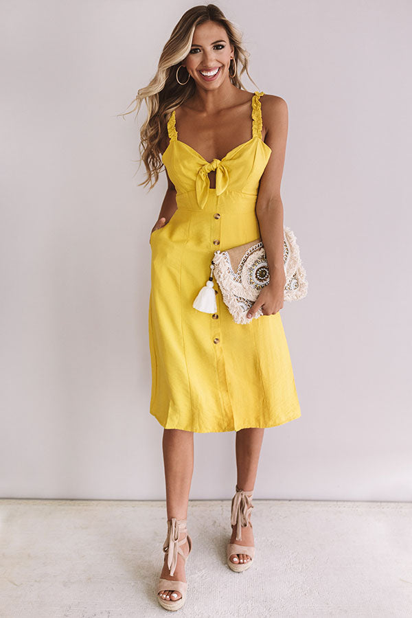 European Getaway Front Tie Midi in Primrose Yellow