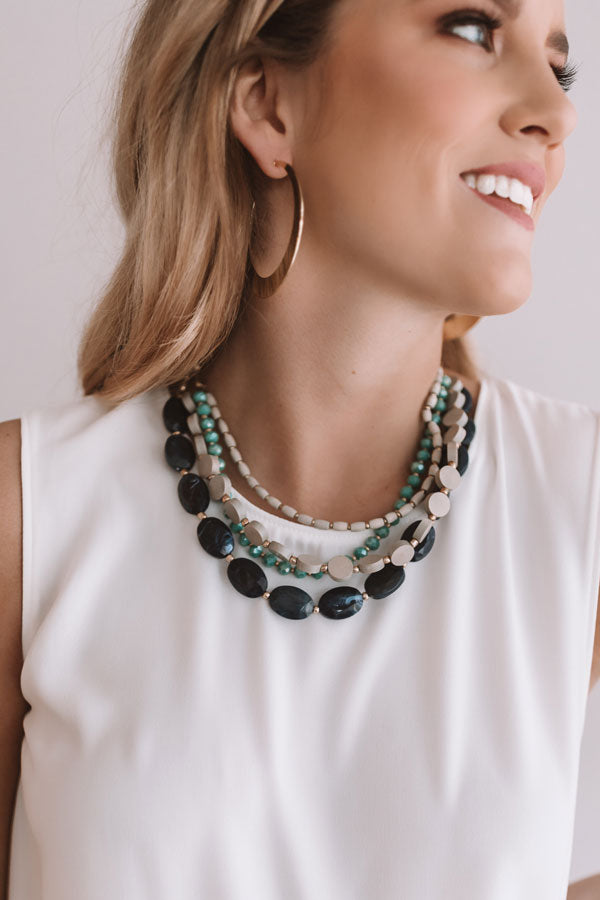 Santorini Sunsets Layered Necklace In Navy