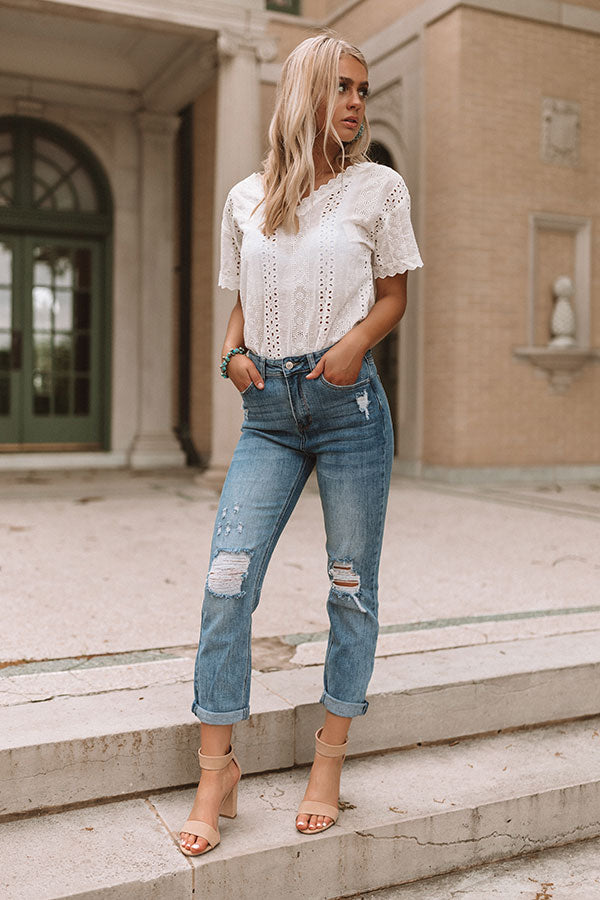 The Anna High Waist Distressed Mom Jean
