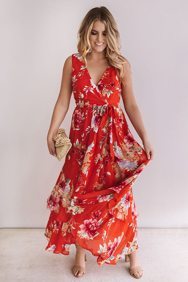 Floral First Impressions Faux Wrap Maxi