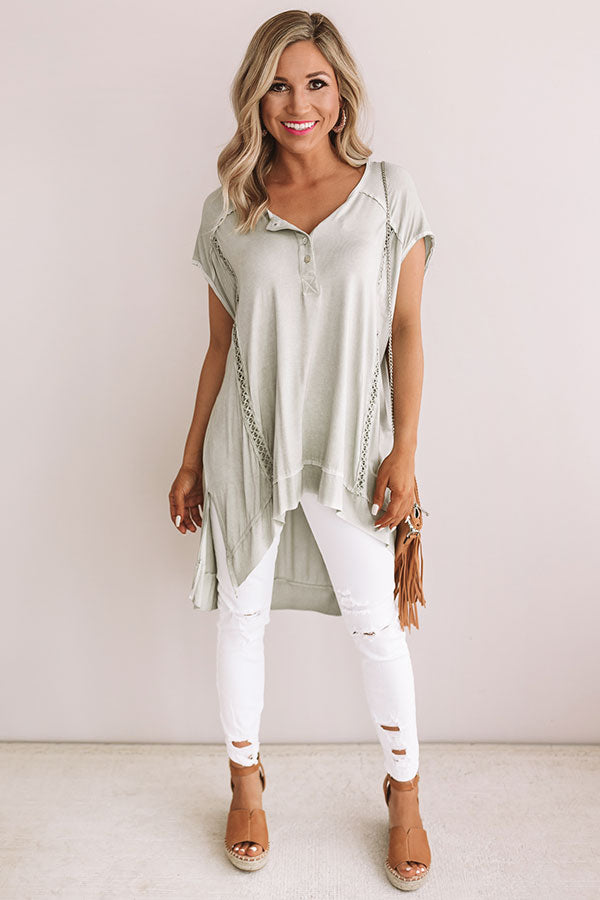 Girl On The Go Shift Top in Sage