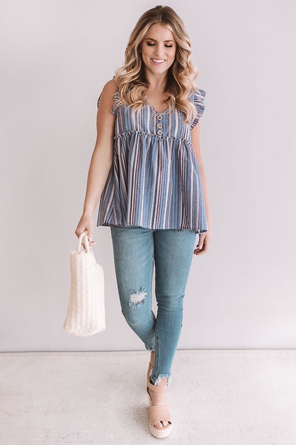 Sunrise Beach Walk Stripe Babydoll Top in Lavender