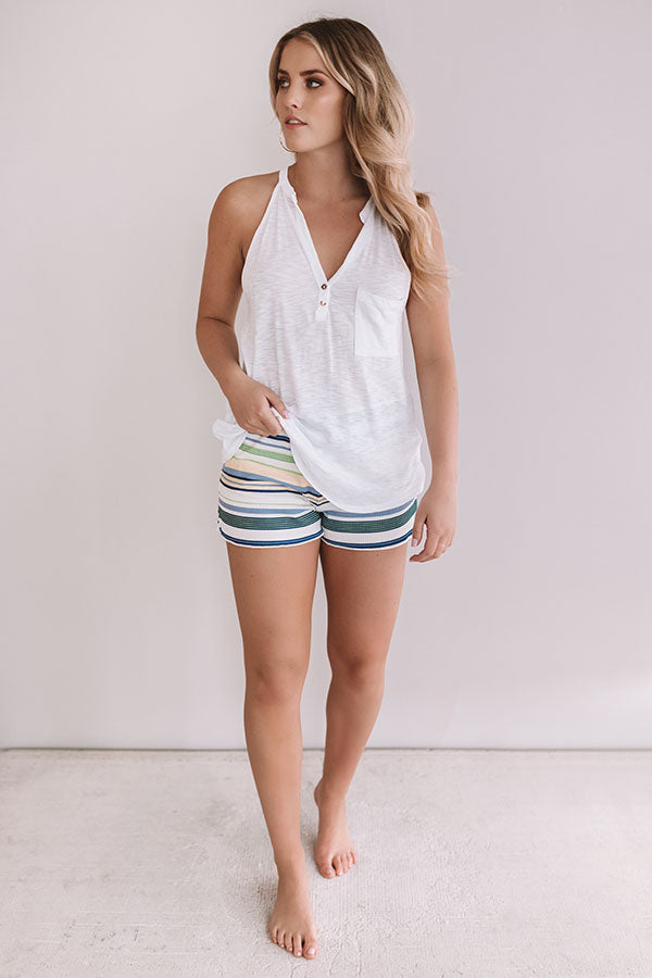 Girl On The Go Stripe Shorts In Green