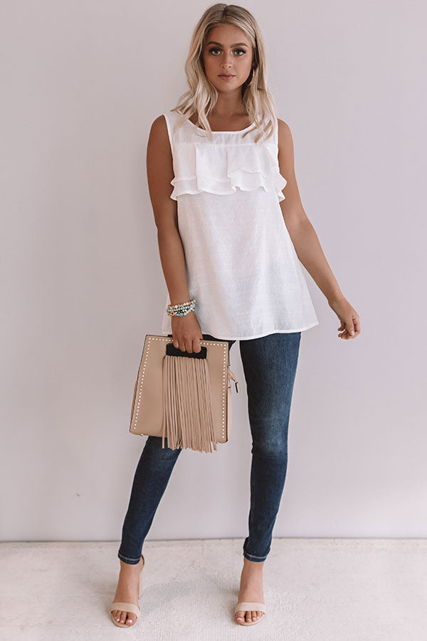 Summertime Lovin' Ruffle Tank In White