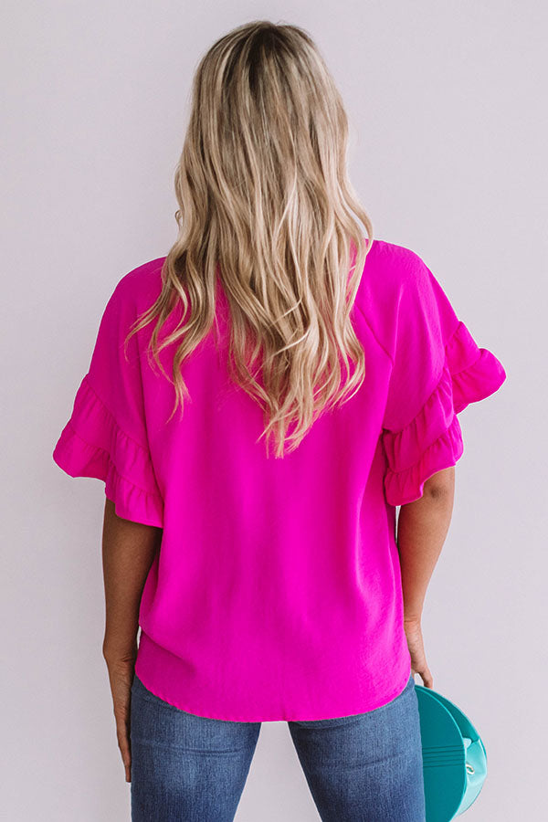 Uptown Night Out Shift Top In Hot Pink