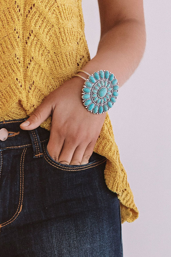 Beach Oasis Cuff Bracelet In Turquoise