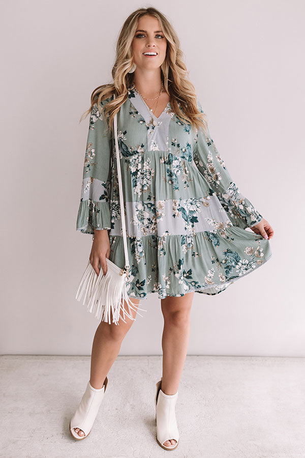 Garden Of Bliss Babydoll Dress In Pear