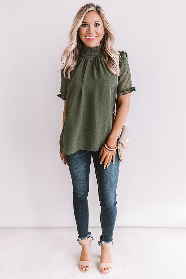 The Sweet One Shift Top In Olive