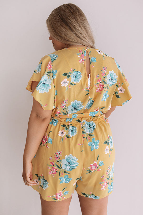 Floral Feelin' Romper In Primrose Yellow