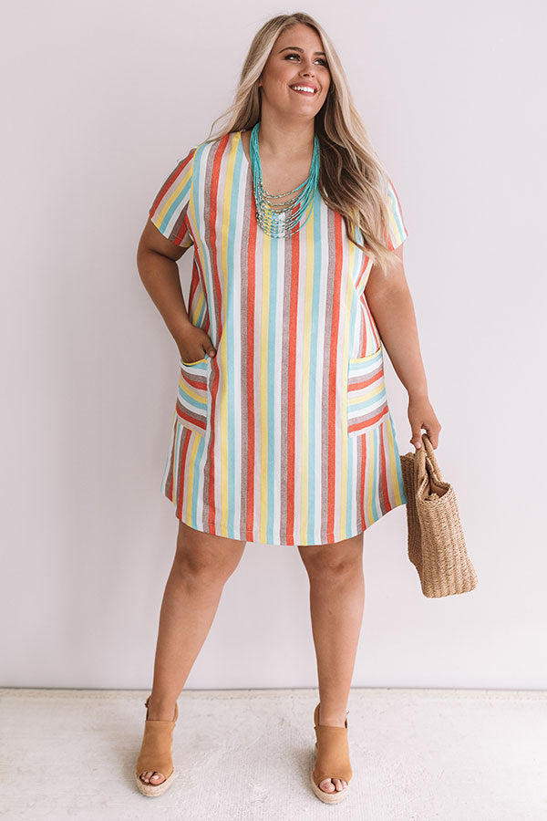 Sunshine Sippin' Stripe Dress In Turquoise