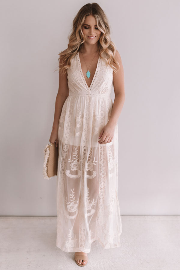 Lovely In London Sleeveless Maxi Dress In Iced Latte