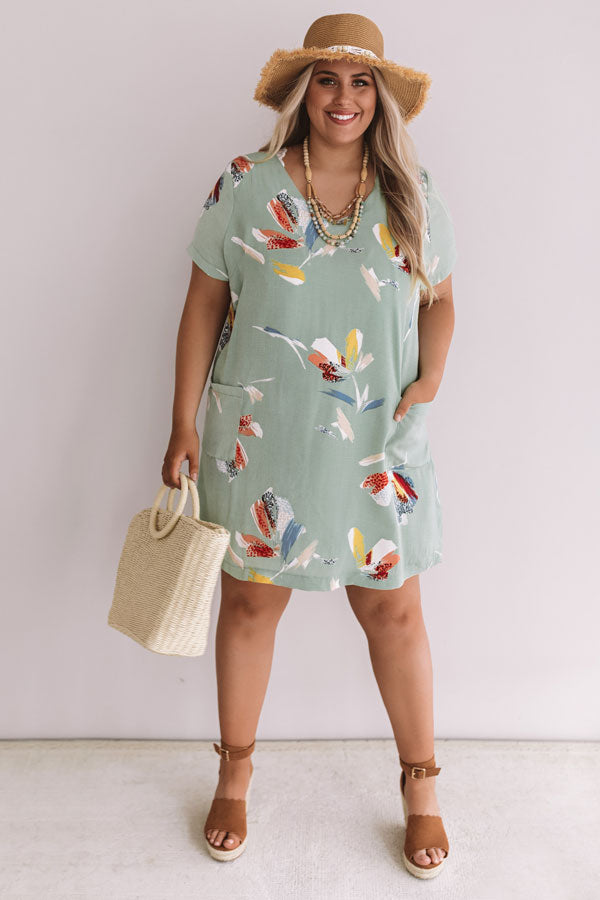 Pier Party Floral Shift Dress In Mint