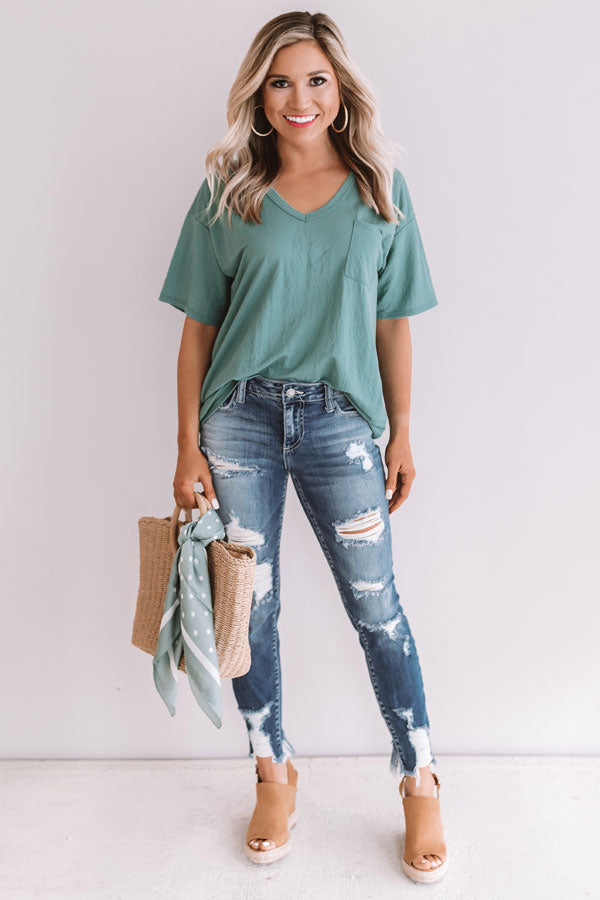 On The Road Again Shift Tee In Emerald