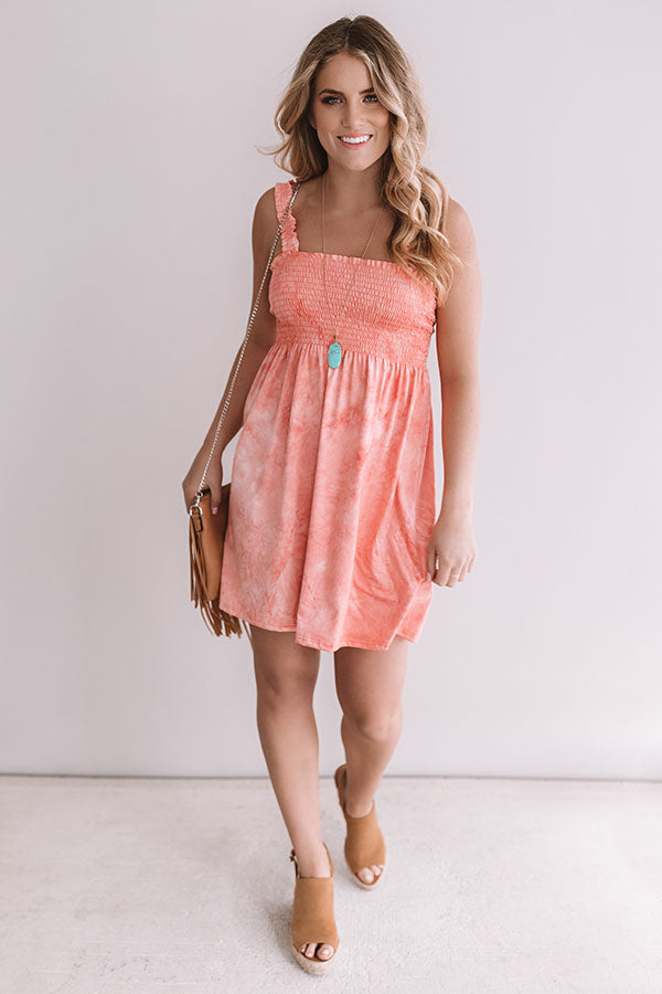 Sweet Summer Nights Faux Suede Smocked Dress