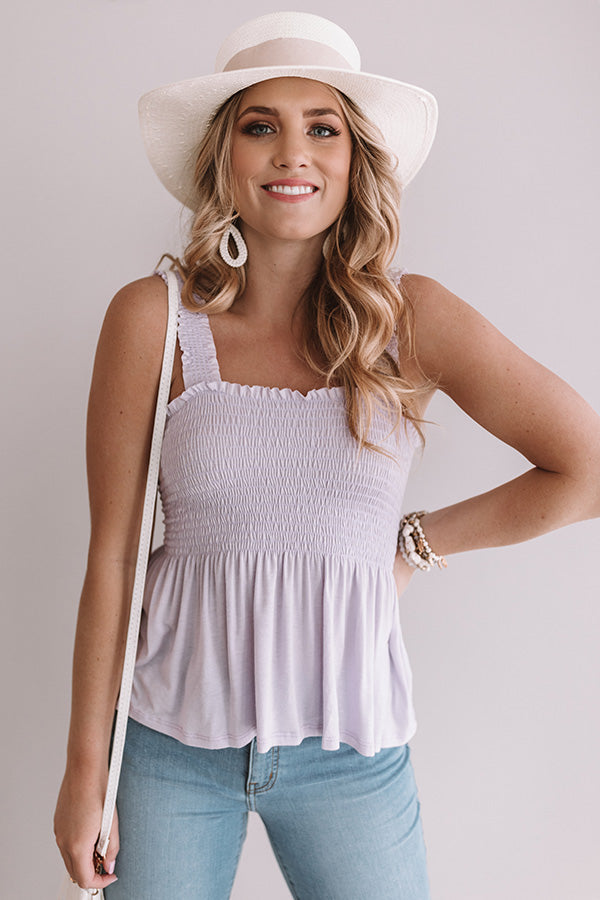 Never Grow Up Smocked Top In Lavender