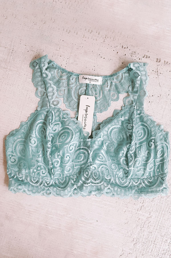 Be Loved Lace Racerback Bralette in Ocean Wave