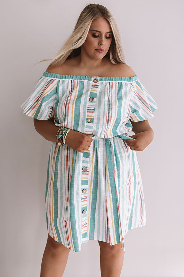 Sunny State Of Mind Stripe Dress In Aqua