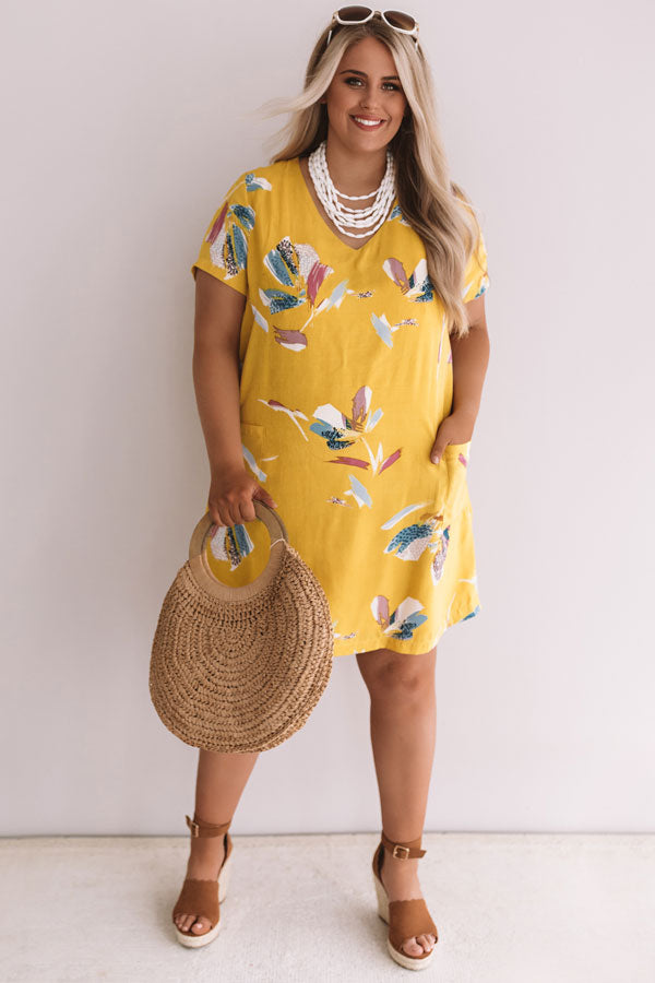 Pier Party Floral Shift Dress In Mustard