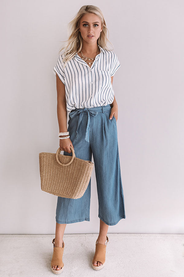 Brunch And Bestfriends Stripe Top In Blue