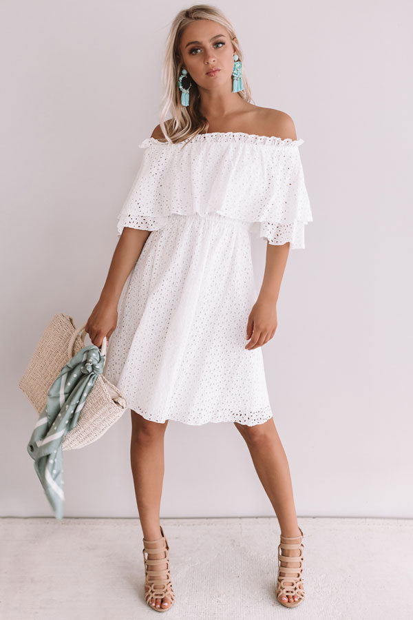 Travel To Tulum Eyelet Dress In White
