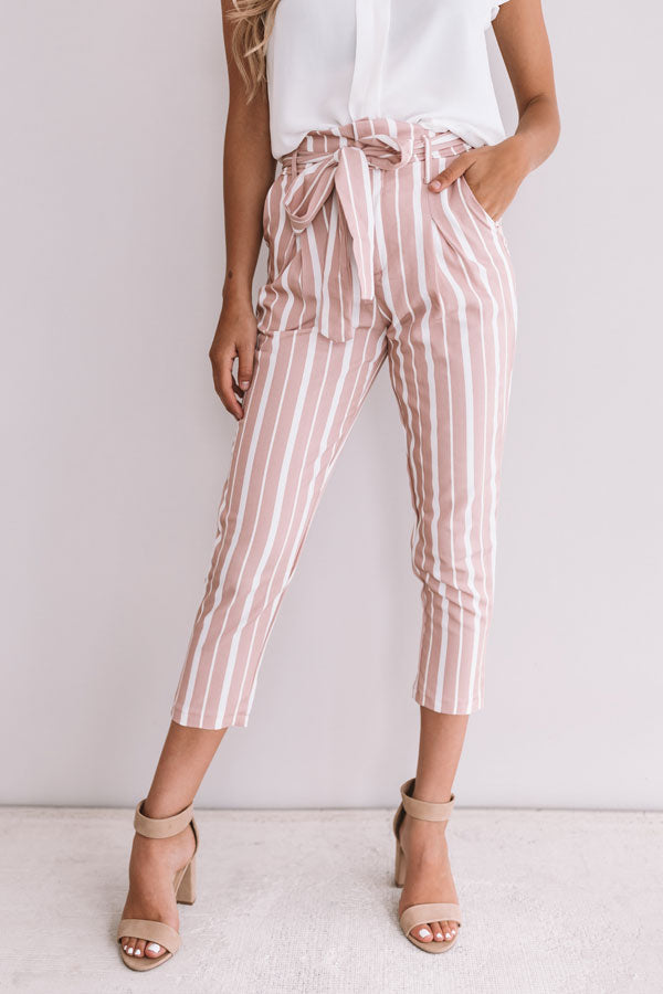 One And Only Stripe Trousers In Blush