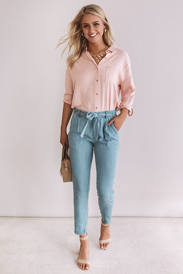 Chic Vibes Button Up Top In Peach