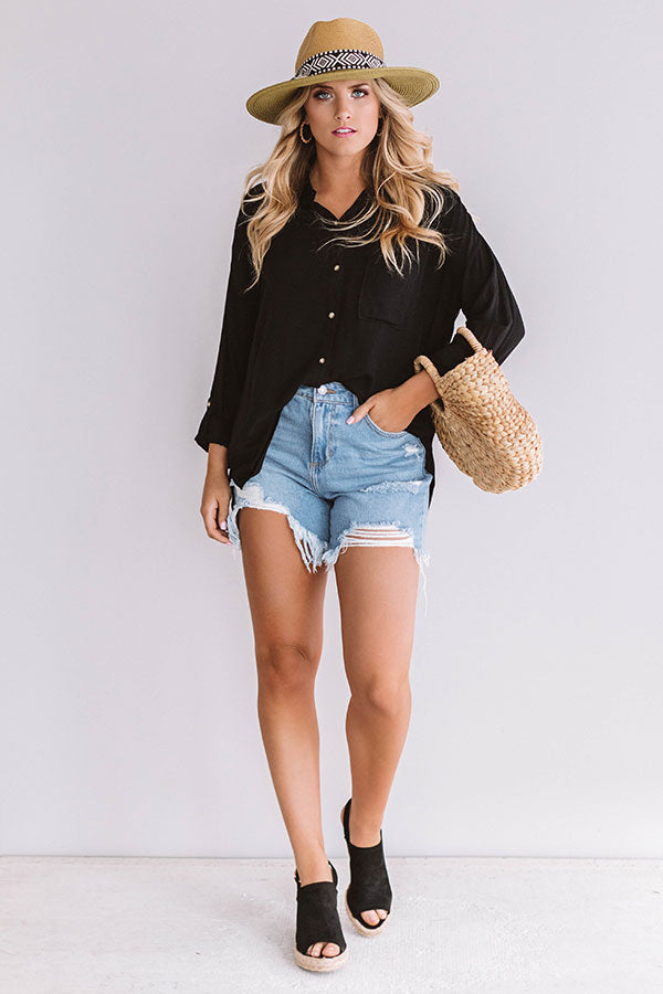 Chic Vibes Button Up Top In Black