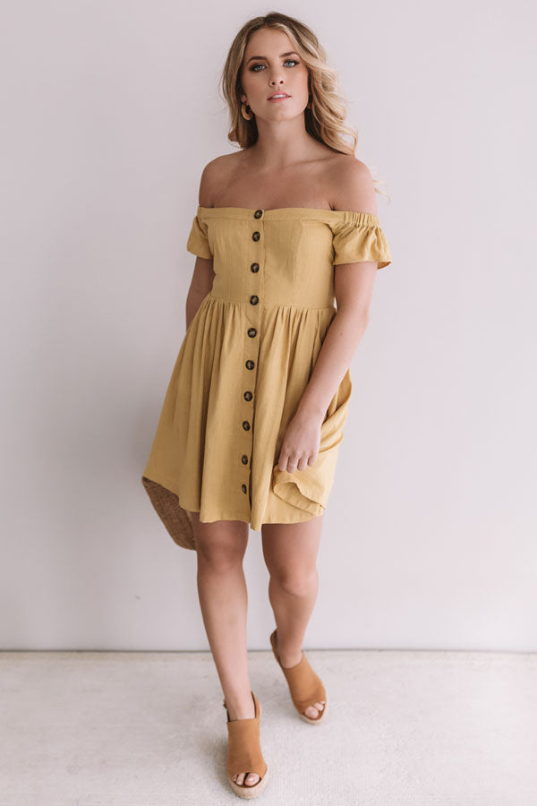 Desert Dreams Button Down Dress In Primrose Yellow