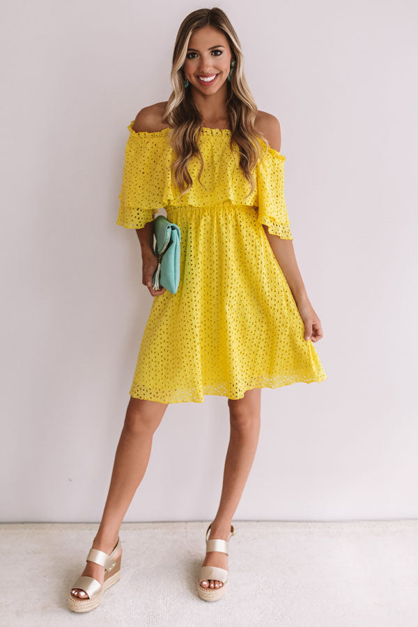 Travel To Tulum Eyelet Dress In Yellow