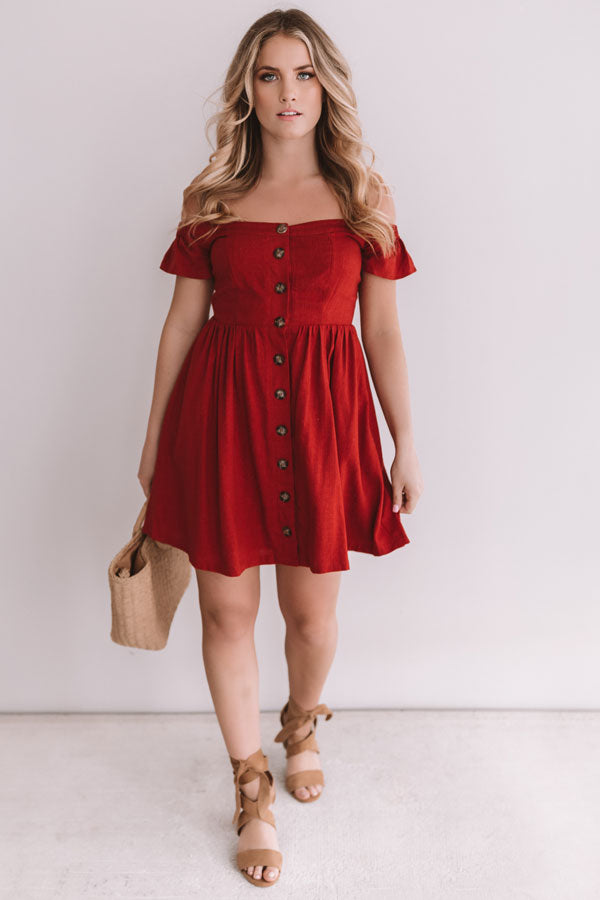 Desert Dreams Button Down Dress In Scarlet