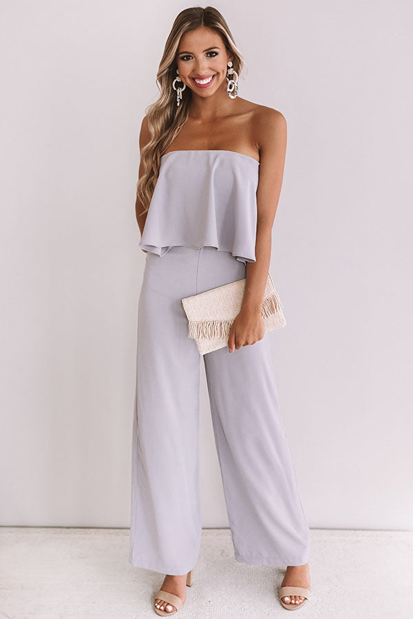 Off To Paris Jumpsuit In Lilac Grey