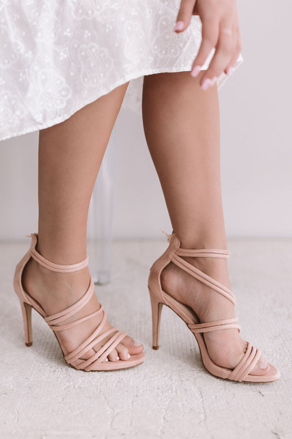 The Mary Kate Faux Suede Heel in Light Blush