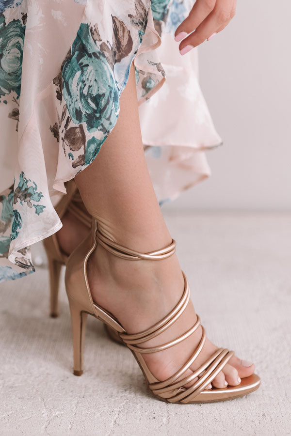The Mary Kate Metallic Heel in Rose Gold