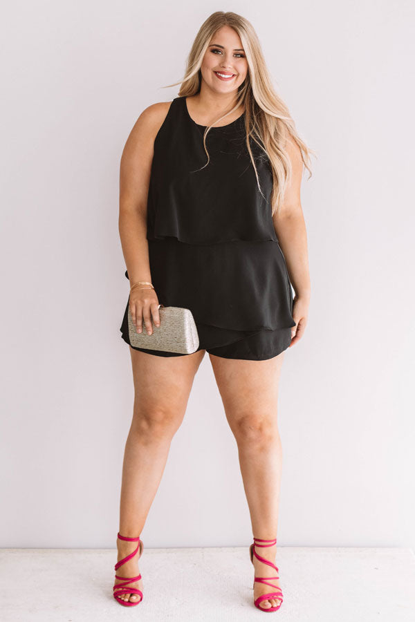 First Class At Fashion Week Tiered Romper In Black