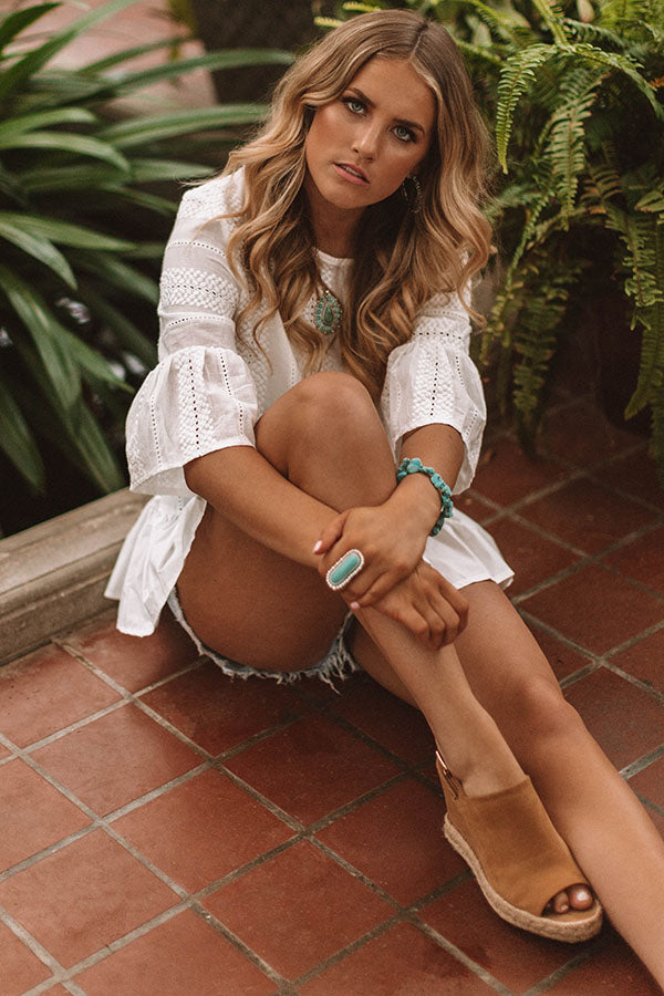 Sunrises and Sandy Toes Eyelet Top