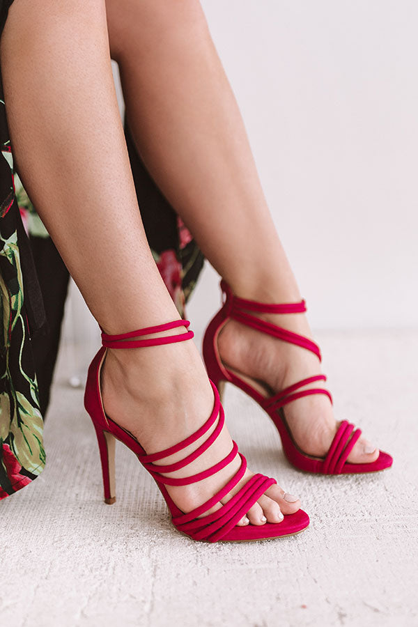 The Mary Kate Faux Suede Heel in Fuchsia