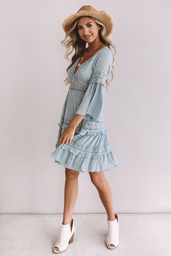 Vacay In Venice Babydoll Dress In Airy Blue