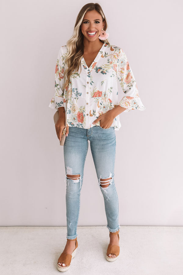 Flowers And Flirting Top