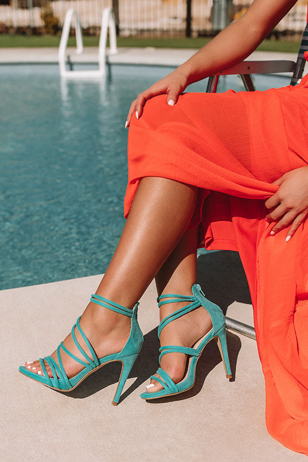 The Mary Kate Faux Suede Heel in Light Turquoise