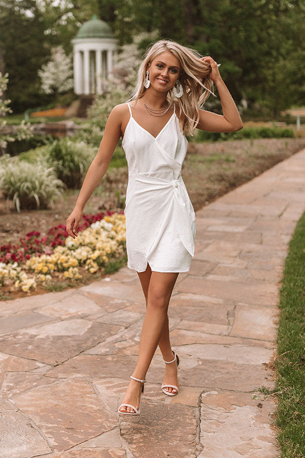Bubbly In Barcelona Front Tie Dress In White