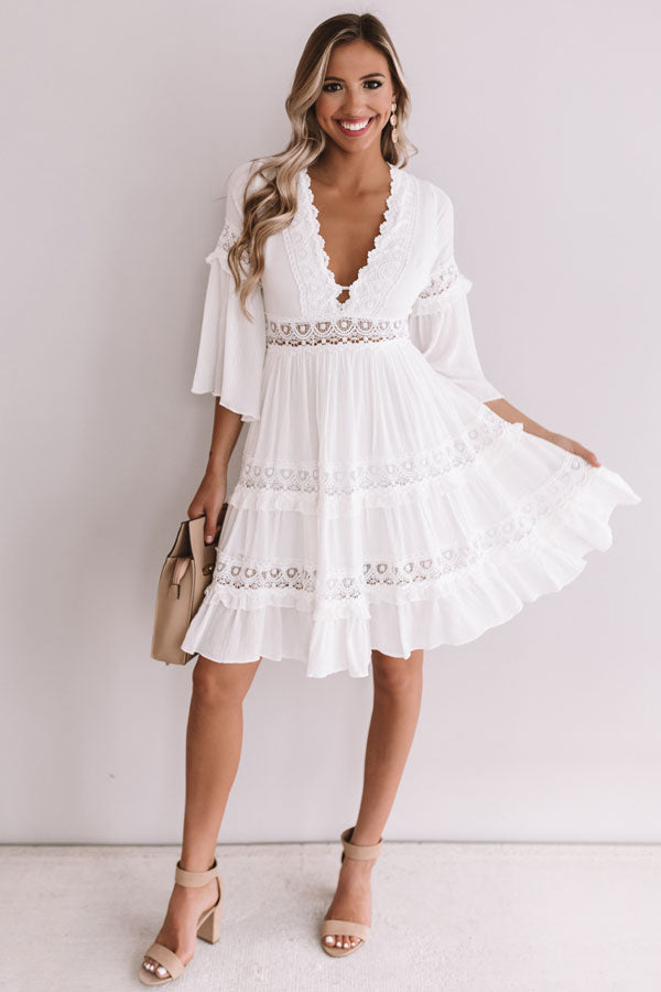 Vacay In Venice Babydoll Dress In White
