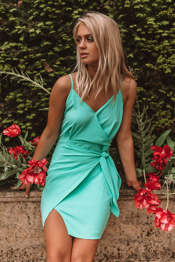 Bubbly In Barcelona Front Tie Dress In Seaglass