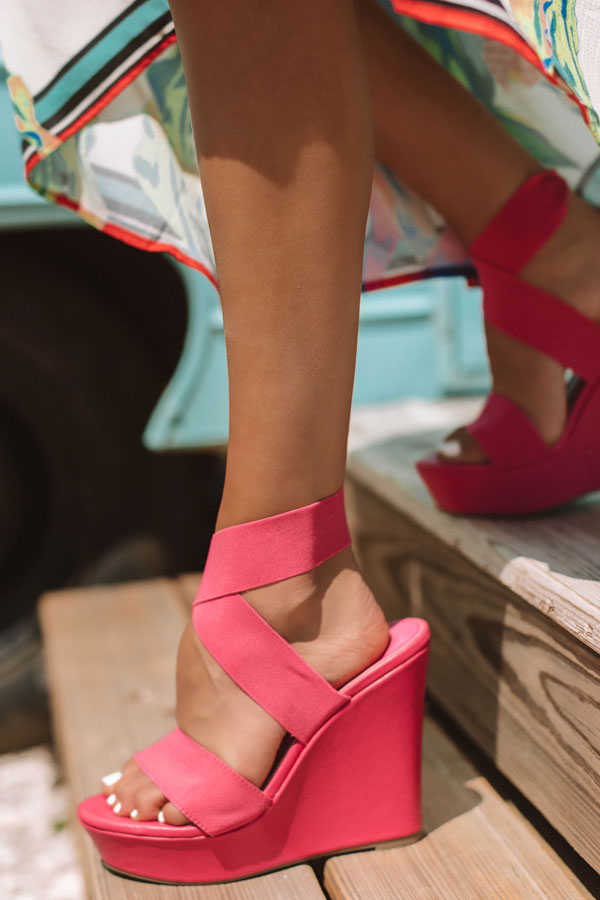 The Jenson Wedge in Hot Pink