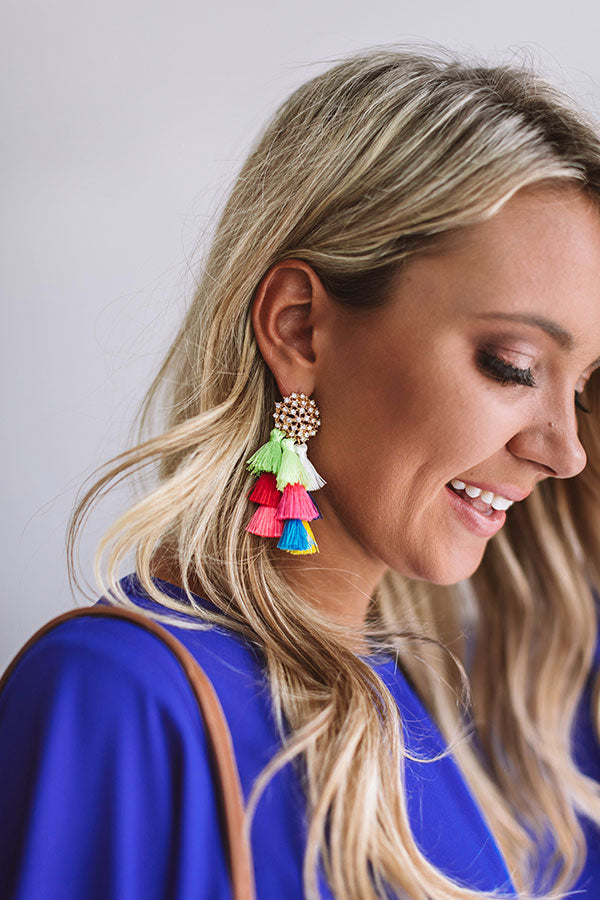 Seeing Sparkles Tassel Earrings In Multi