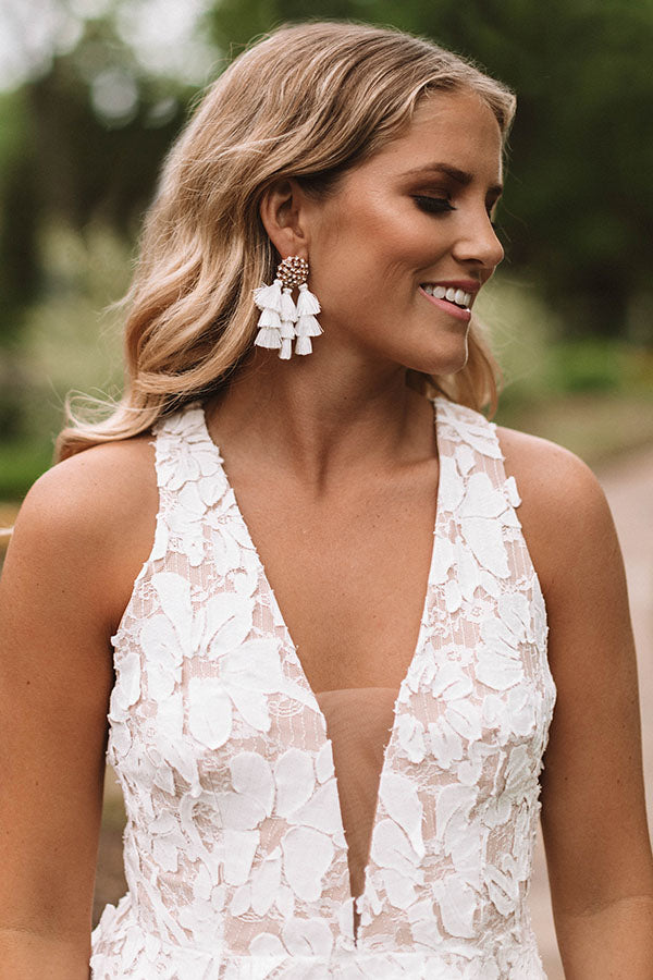 Seeing Sparkles Tassel Earrings In White