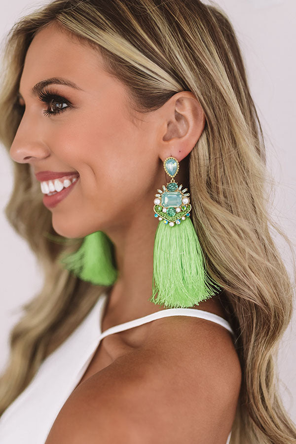 Calls For Celebration Tassel Earrings in Lime Punch