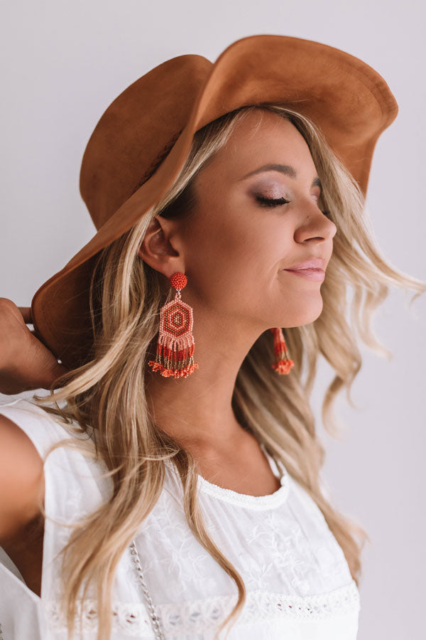 Beads And Bungalows Earrings In Tangerine